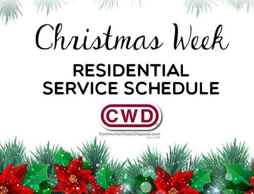 Residential Service Schedule for Christmas Week 2018